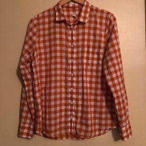 J.CREW Gingham Button Up Blouse Top Shirt
